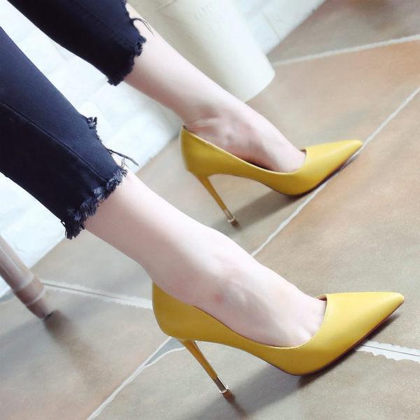 秋季細跟高跟鞋 百搭淺口顯瘦尖頭鞋【多多鞋包店】z2957
