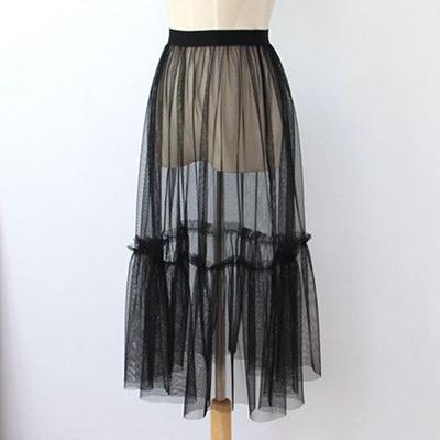紗裙單層紗一層紗透視裙蕾絲裙網紗半身裙外搭中長裙魚尾裙網紗裙 韓國時尚週