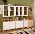 書櫃書架收納實木書櫃白色兒童組合創意客廳帶門收納儲物多層北歐簡約式落地架SP全館免運