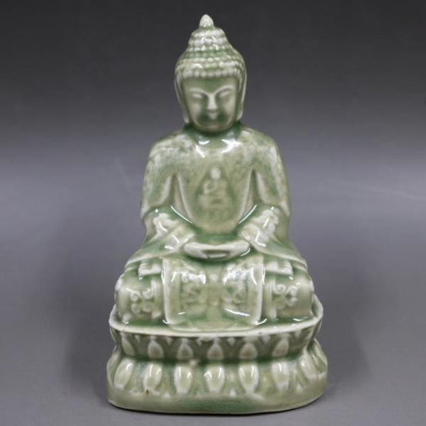 清康熙豆青釉雕刻如來佛像仿古老貨包老瓷器家居擺件古董古玩收藏1入