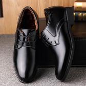 男士商務正裝漆皮鞋男上班潮鞋加絨英倫尖頭休閒內增高6cm男棉鞋