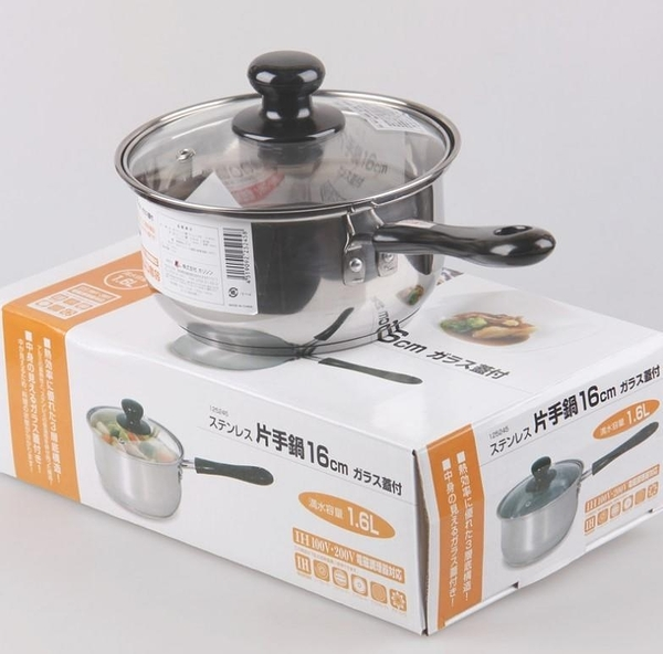 299AAB小奶鍋 外貿日本不銹鋼湯奶鍋复底 精緻煮鍋面鍋16cm 電磁爐通用