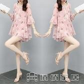 時尚套裝 2021年夏季新款短袖寬鬆上衣短褲網紅洋氣雪紡套裝顯瘦兩件套女夏 16【免運快出】