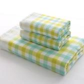 浴巾三件套含浴巾+毛巾-時尚格紋柔軟吸水純棉衛浴用品3色72t4【時尚巴黎】