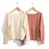 秋冬新品[H2O]手工毛線小花縫珠裝飾兔毛針織毛衣 - 白/粉色 #0630016