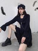 冬大碼胖mm秋季新款日系暗黑少女中長款長袖顯瘦黑色連身裙子 suger