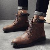 春季男鞋加絨保暖棉鞋中筒男士雪地靴子韓版潮馬丁靴 3c優購