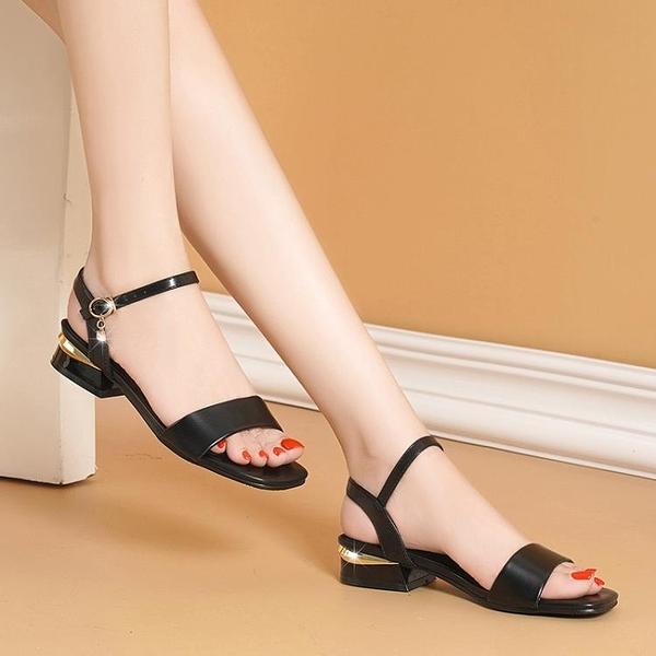 低跟涼鞋 真皮斷碼清倉足意爾康涼鞋女低跟2021新款夏季粗跟時裝氣質媽媽鞋 【618 大促】
