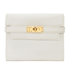 HERMES 愛馬仕 Kelly Compact Wallet 白色牛皮凱莉短夾 □K刻 Blanc【BRAND OFF】