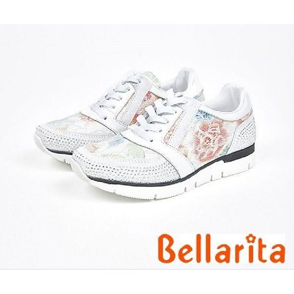 本週下殺★2017秋冬新品★bellarita.運動風-水鑽蕾絲花邊運動鞋(7902-15白)