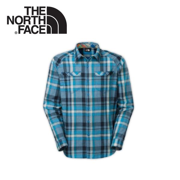 【The North Face 男 抗UV法蘭格紋襯衫《潛水藍》】C750-N6Q/休閒上衣/休閒衫/牛津棉/舒適/百搭★滿額送
