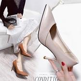 網紅高跟鞋女春新款百搭尖頭小清新單鞋法式少女細跟淺口女鞋 雙12全館免運