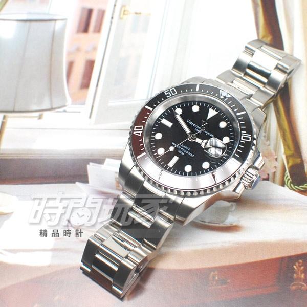 valentino coupeau 范倫鐵諾 夜光時刻 不鏽鋼 防水手錶 男錶 潛水錶 水鬼 石英錶 紅x黑 V61589B紅黑