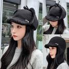 帽子女秋冬季保暖刺繡小雛菊戶外防風加絨加厚保暖護耳滑雪帽【快速出貨】