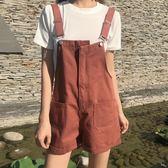 吊帶短褲短褲女夏季新品港味復古學生寬鬆休閒百搭水洗做舊闊腿牛仔背帶褲(限時八八折)