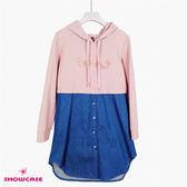 【SHOWCASE】休閒連帽牛仔拼接厚棉T洋裝(粉)