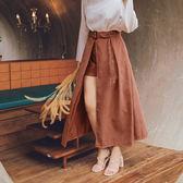 AIR SPACE PLUS 質感前開衩褲裙(附腰帶) 2色