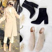 粗跟靴 秋冬新款高跟短靴女粗跟方頭裸靴馬丁靴子春秋單靴踝襪靴女鞋 唯伊時尚