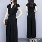 兩件式褲裝 時尚顯瘦女裝2021新款潮收腰氣質闊腿褲套裝女夏季大碼連體褲 愛丫 新品 交換禮物