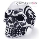 《 QBOX 》FASHION 飾品【W10021373】精緻個性雕刻立體骷髏頭鑄造鈦鋼戒指/戒環(推薦)