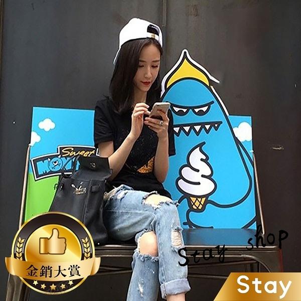 【Stay】歐美街頭刷破牛仔褲 寬鬆 九分褲 韓風 時尚 牛仔褲【P40】