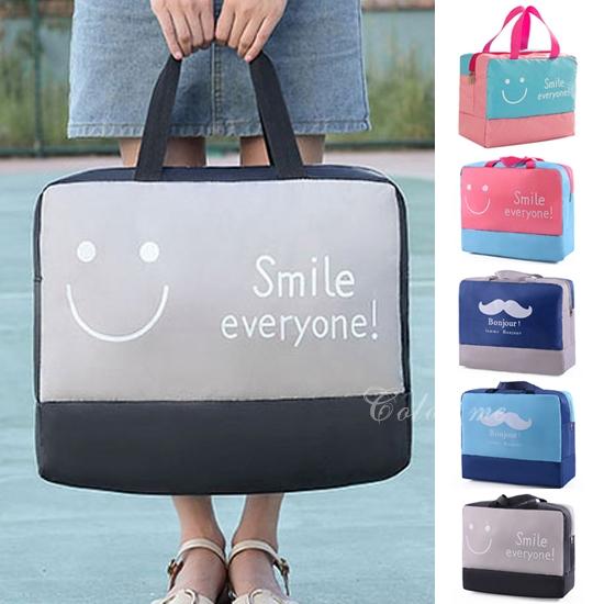 旅行袋 手提 收納包 肩背包 登機包 購物袋 衣物收納 撞色手提折疊拉桿包【Z182】米菈生活館