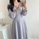 洋裝 韓系春夏小心機V領簡約連身裙 花漾小姐【預購】