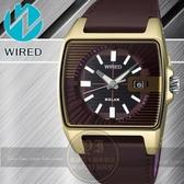 WIRED日本原創HYBRID系列太陽能時尚腕錶-咖啡金 V145-X013Q公司貨//禮物