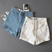 夏季歐美包臀熱褲高腰牛仔短褲女 寬鬆彈力顯瘦大碼a字捲邊闊腿褲