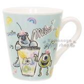 〔小禮堂〕迪士尼怪獸大學陶瓷馬克杯《綠飲料杯水果》咖啡杯精緻盒裝4935124 49930