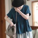 銅氨絲襯衫 盤扣繫帶襯衫 娃娃衫 純色短袖上衣/2色-夢想家-0612