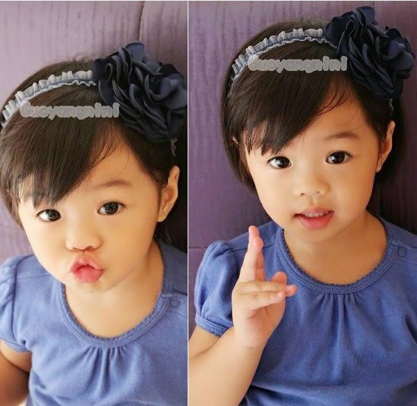 手工髮帶 天鵝絨髮帶烤邊花款兒童 寶寶 嬰兒 彈性髮帶 拍照 彌月 寫真  果漾妮妮【P3958】