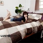 LUST生活寢具【現代普卡其】100%純棉、雙人6尺精梳棉床包/枕套組 (不含被套)、台灣製