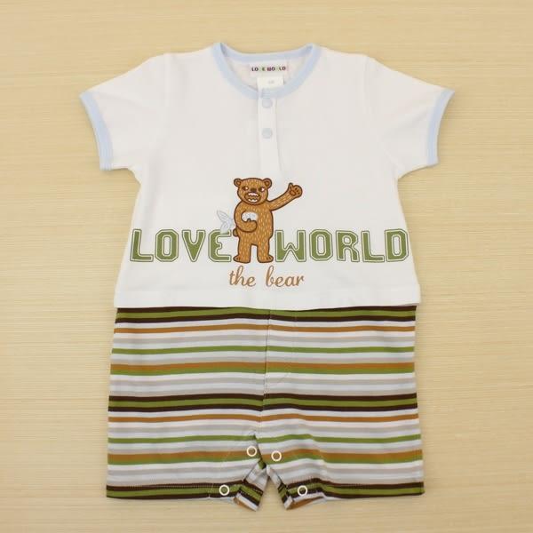 【愛的世界】圓領純棉短袖衣連褲/6個月-台灣製- ★春夏連身推薦