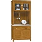 櫥櫃 餐櫃 HE-379-4 愛莉絲柚木色3尺石面碗碟櫃【大眾家居舘】