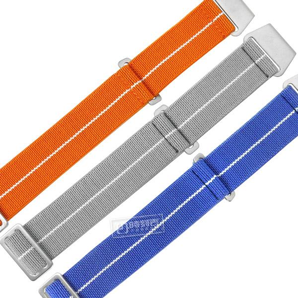 Watchband / 20mm / 各品牌通用 穿戴方便 輕便柔軟 不鏽鋼扣頭 彈性尼龍錶帶 橘/灰/藍 #829-34