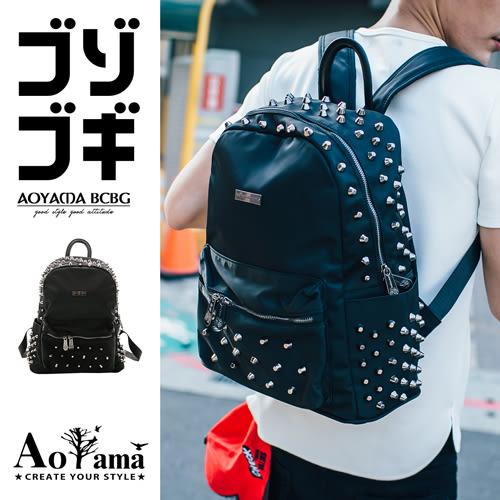 後背包 【A6077】質感鉚釘設計皮革後背包青山AOYAMA