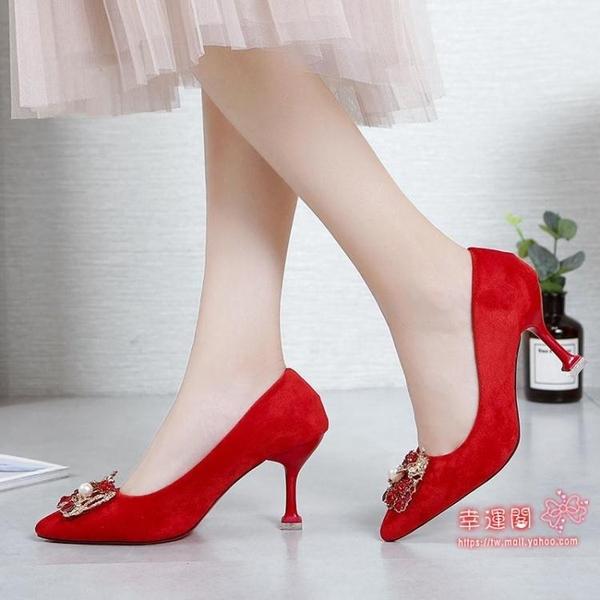 高跟鞋 2020新款龍鳳扣綢緞秀禾鞋婚鞋中式尖頭細高跟水晶鞋紅色新娘鞋女 35-39