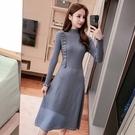 VK精品服飾 韓國風優雅單邊木耳針織修身小香風長袖洋裝