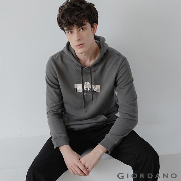 【GIORDANO】男裝CHECKS連帽T恤 - 12 青銅灰
