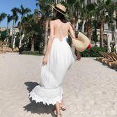 泰國巴厘島馬爾代夫海邊度假沙灘裙波西米亞裙白色露背吊帶洋裝艾美時尚衣櫥