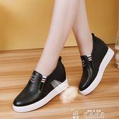 女生帆布鞋小白鞋子女新款百搭內增高女鞋春季鏤空透氣一腳蹬懶人單鞋夏