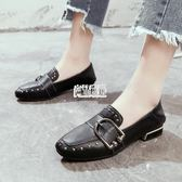 【免運】女鞋新款正韓百搭低跟方頭鞋子女平底單鞋女貓跟鞋子女