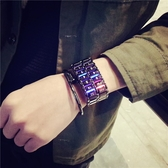 韓版led合金手錬錶男個性時尚簡約韓版學生創意新概念熔巖電子錶  范思蓮恩