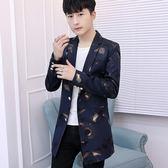 雙12購物節   春秋季中長款男士外套修身帥氣休閒西裝夏季風衣韓版潮流個性男裝   mandyc衣間