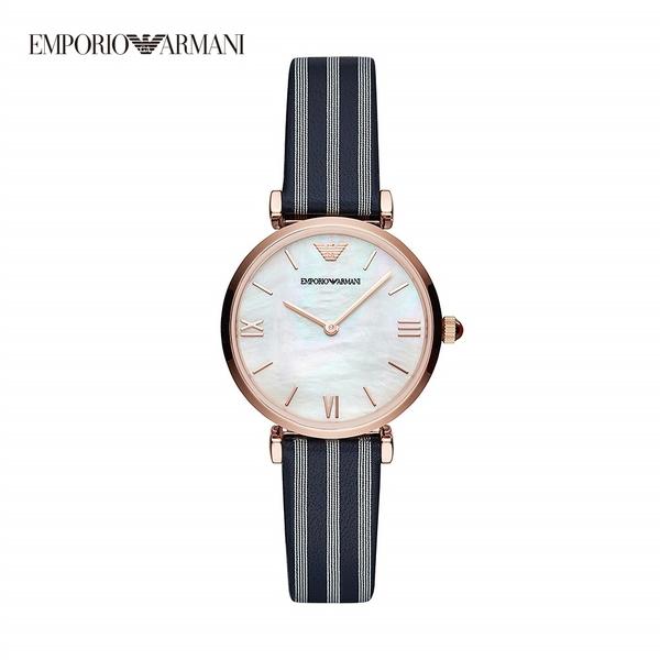 Emporio Armani Gianni t-bar 愛情海藍白條紋真皮女錶 32MM AR11224