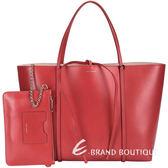 DOLCE & GABBANA ESCAPE 全皮綁結購物包(大/紅色) 1510037-54