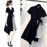 大碼女裝新款夏裝胖妹妹mm裙子洋氣顯瘦遮肚假兩件法式洋裝 「安妮塔小铺」