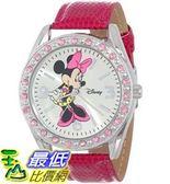 [104美國直購] Disney Women s MN1010 Minnie Mouse Silver Sunray Dial Pink Lizard Watch 迪士尼 手錶