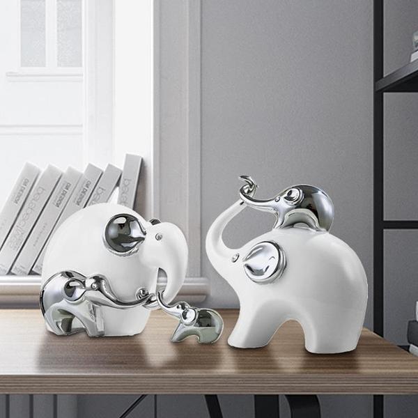大象擺件一對招財陶瓷創意現代喬遷新居送禮家居客廳